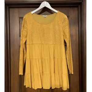 Mustard lace boutique tunic top